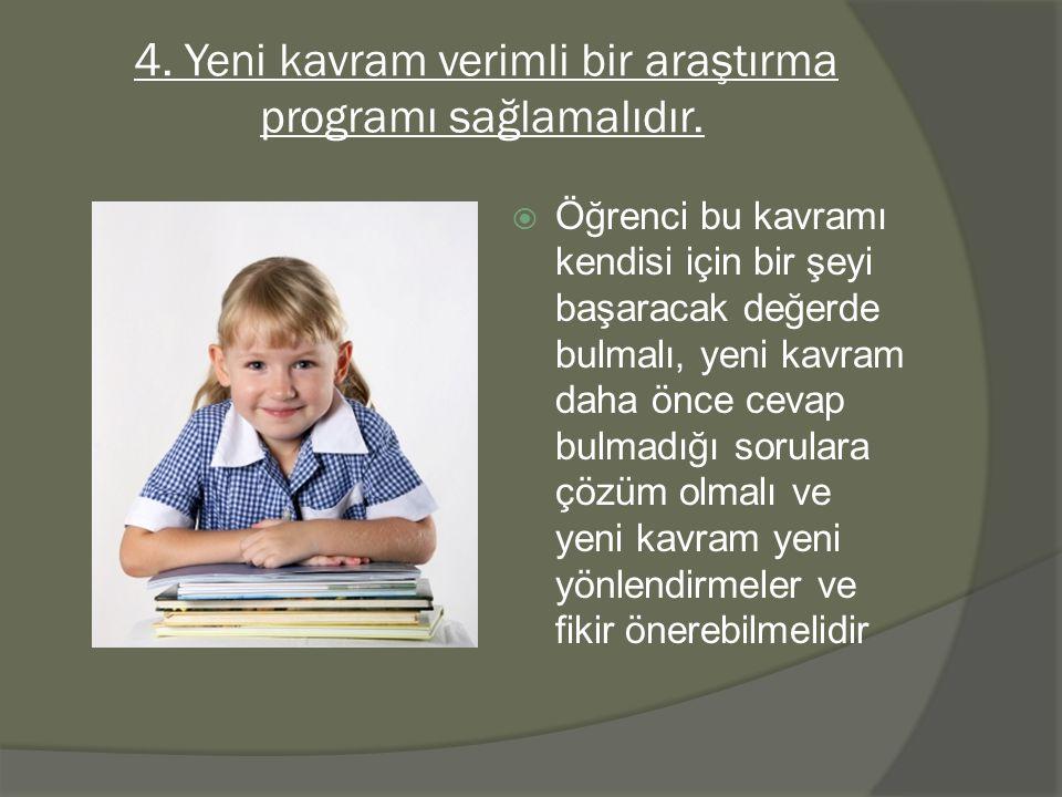 4.Yeni kavram verimli bir araştırma programı sağlamalıdır.