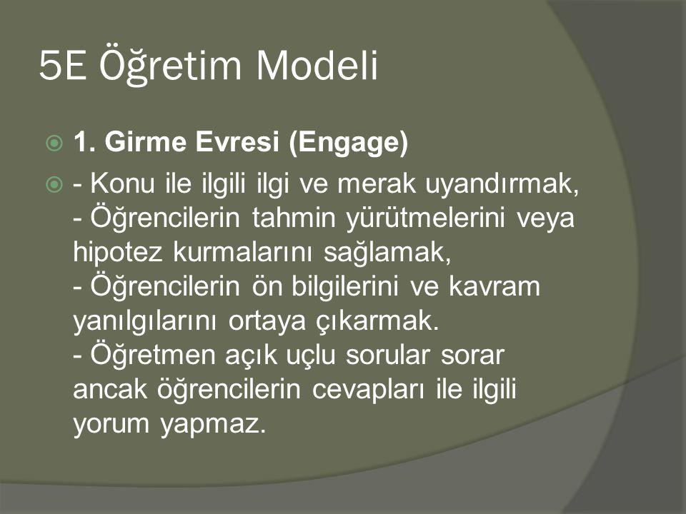 5E Öğretim Modeli  1.