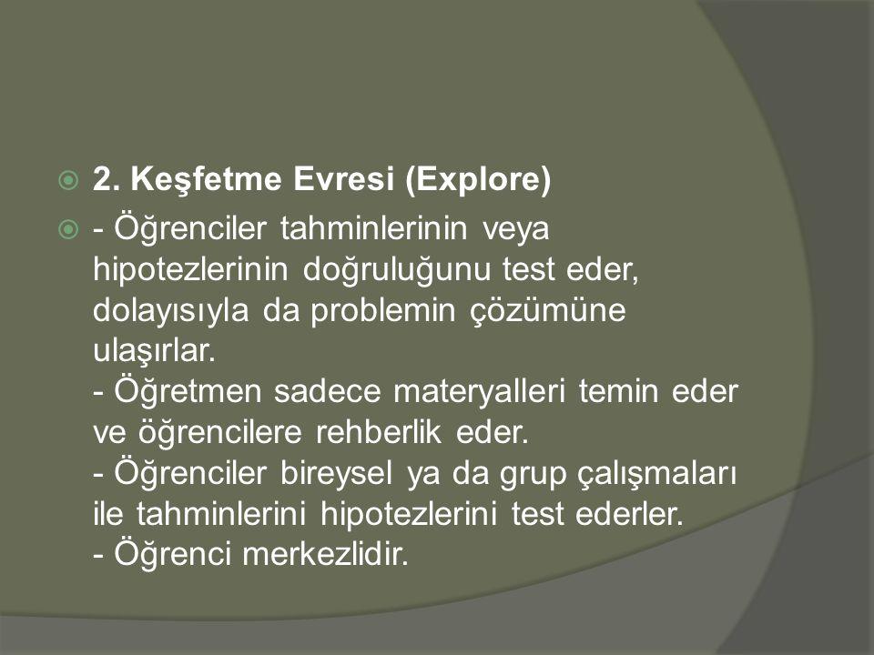  2. Keşfetme Evresi (Explore)  - Öğrenciler tahminlerinin veya hipotezlerinin doğruluğunu test eder, dolayısıyla da problemin çözümüne ulaşırlar. -