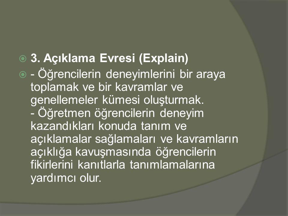  3. Açıklama Evresi (Explain)  - Öğrencilerin deneyimlerini bir araya toplamak ve bir kavramlar ve genellemeler kümesi oluşturmak. - Öğretmen öğrenc