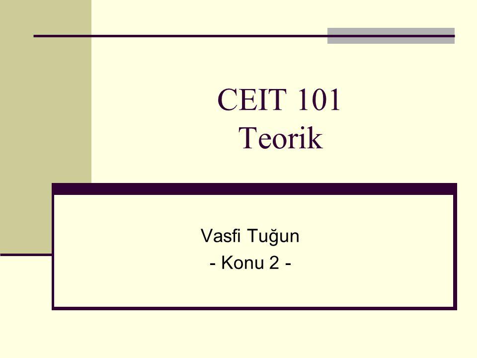 Merkezi İşlem Birimi(CPU) (Central Processor Unit) GirişBirimi 5+3 ÇıkışBirimi 8 RAM Bellek 5,+,3,8 Kontrol Birimi (Control Unit) Artimetik ve Mantık Birimi (Aritmetical Logical Unit) 5+3=8 Depolama Birimi (8) (Bellek(Harddisk,disket...)
