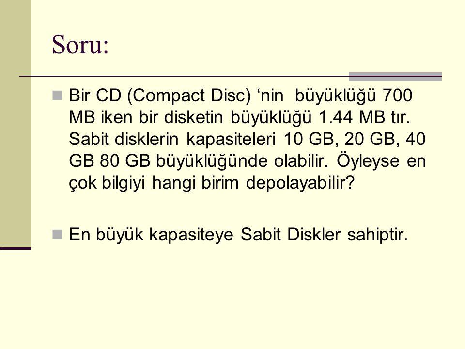 Soru: Bir CD (Compact Disc) 'nin büyüklüğü 700 MB iken bir disketin büyüklüğü 1.44 MB tır. Sabit disklerin kapasiteleri 10 GB, 20 GB, 40 GB 80 GB büyü