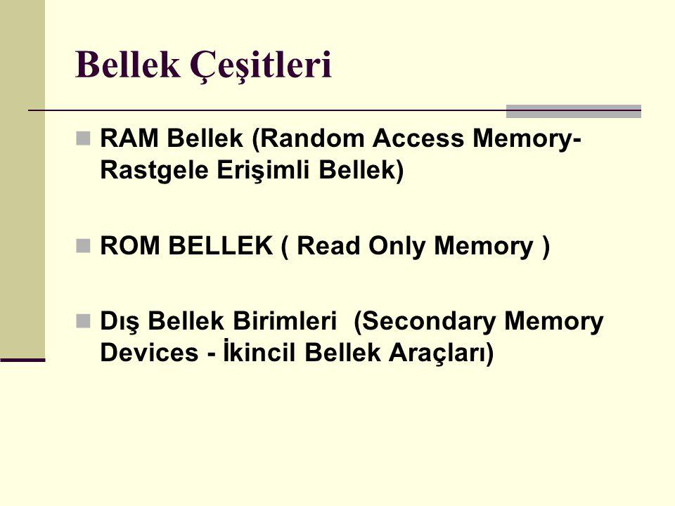 Bellek Çeşitleri RAM Bellek (Random Access Memory- Rastgele Erişimli Bellek) ROM BELLEK ( Read Only Memory ) Dış Bellek Birimleri (Secondary Memory Devices - İkincil Bellek Araçları)