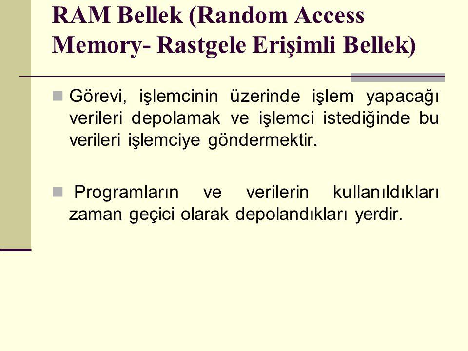 RAM Bellek (Random Access Memory- Rastgele Erişimli Bellek) Görevi, işlemcinin üzerinde işlem yapacağı verileri depolamak ve işlemci istediğinde bu verileri işlemciye göndermektir.