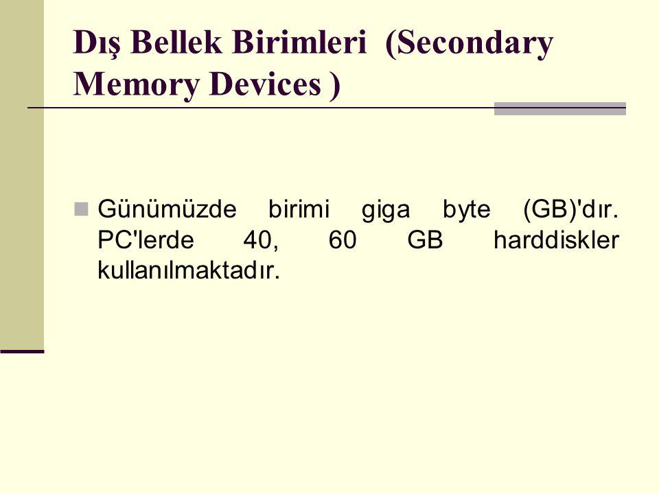 Dış Bellek Birimleri (Secondary Memory Devices ) Günümüzde birimi giga byte (GB)'dır. PC'lerde 40, 60 GB harddiskler kullanılmaktadır.