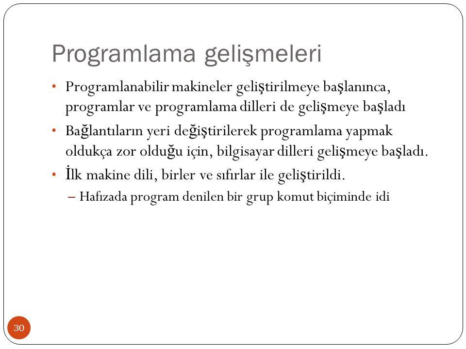 Programlama gelişmeleri 30 Programlanabilir makineler geli ş tirilmeye ba ş lanınca, programlar ve programlama dilleri de geli ş meye ba ş ladı Ba ğ l