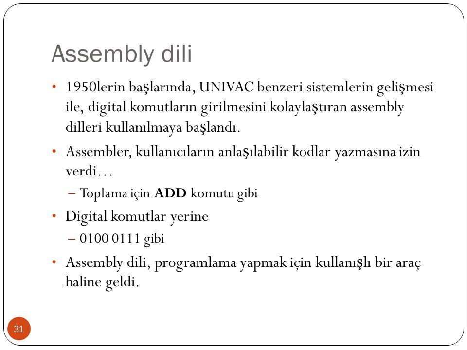 Assembly dili 31 1950lerin ba ş larında, UNIVAC benzeri sistemlerin geli ş mesi ile, digital komutların girilmesini kolayla ş tıran assembly dilleri k