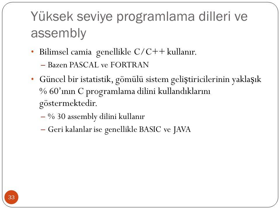Yüksek seviye programlama dilleri ve assembly 33 Bilimsel camia genellikle C/C++ kullanır. – Bazen PASCAL ve FORTRAN Güncel bir istatistik, gömülü sis