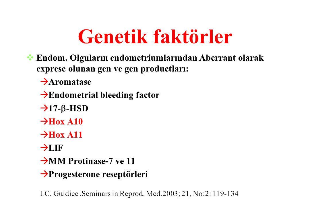 Genetik faktörler  Endom. Olguların endometriumlarından Aberrant olarak exprese olunan gen ve gen productları: àAromatase àEndometrial bleeding facto