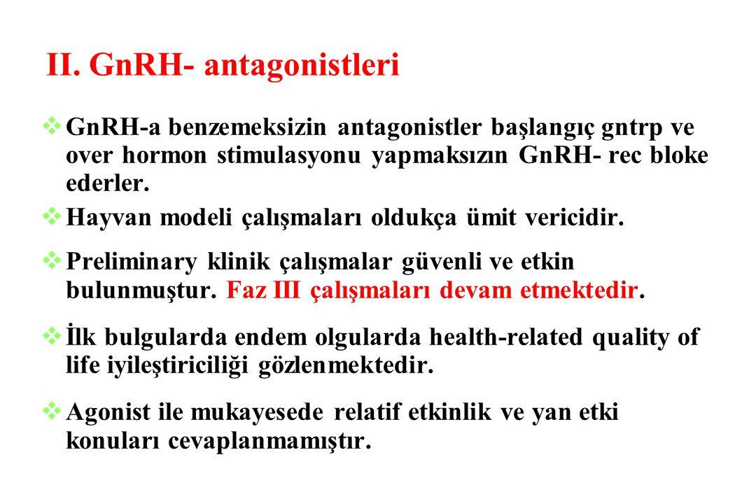 II. GnRH- antagonistleri vGnRH-a benzemeksizin antagonistler başlangıç gntrp ve over hormon stimulasyonu yapmaksızın GnRH- rec bloke ederler. vHayvan