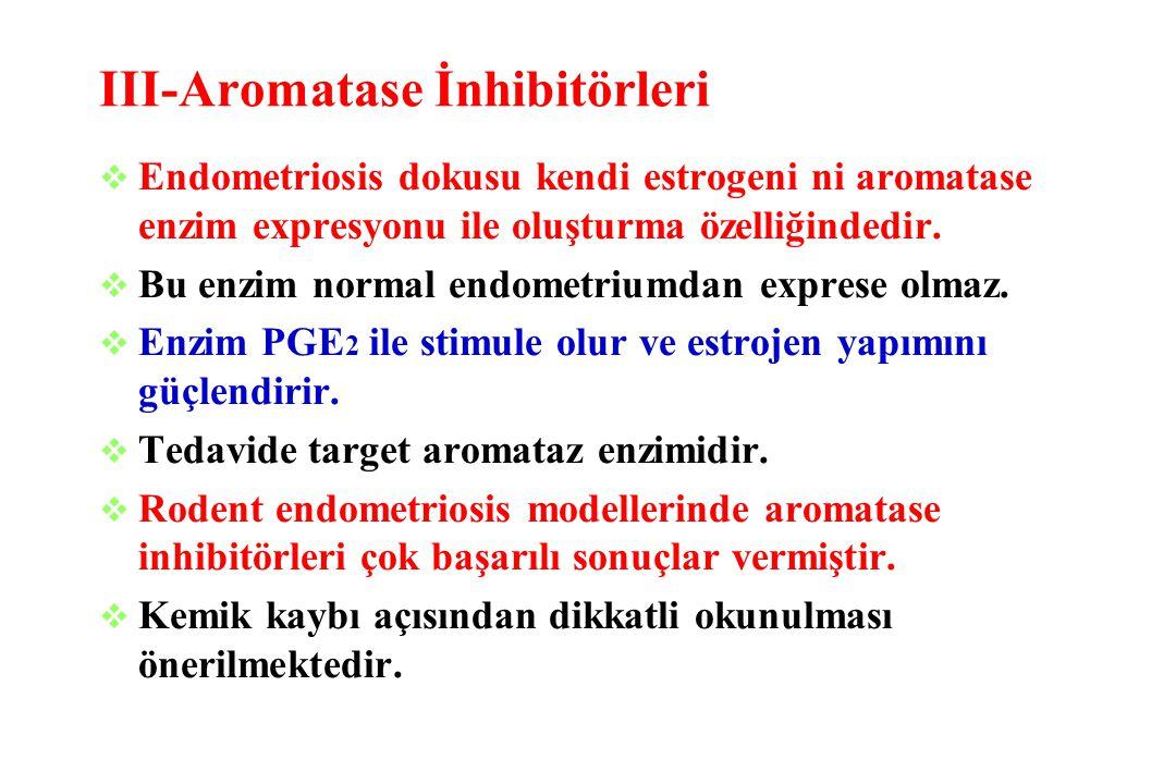 III-Aromatase İnhibitörleri  Endometriosis dokusu kendi estrogeni ni aromatase enzim expresyonu ile oluşturma özelliğindedir.  Bu enzim normal endom