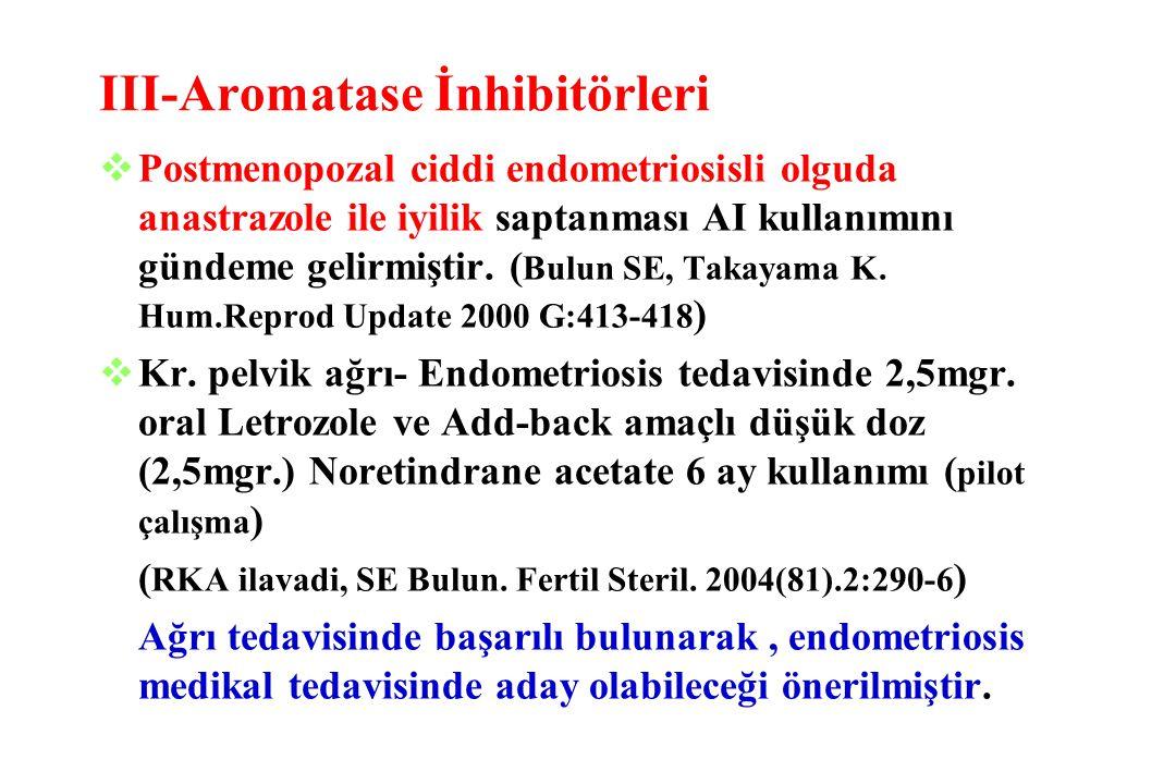 III-Aromatase İnhibitörleri vPostmenopozal ciddi endometriosisli olguda anastrazole ile iyilik saptanması AI kullanımını gündeme gelirmiştir. ( Bulun