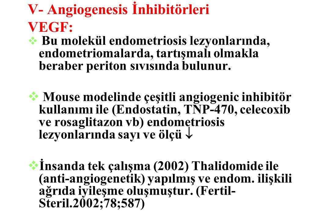 V- Angiogenesis İnhibitörleri VEGF: v Bu molekül endometriosis lezyonlarında, endometriomalarda, tartışmalı olmakla beraber periton sıvısında bulunur.
