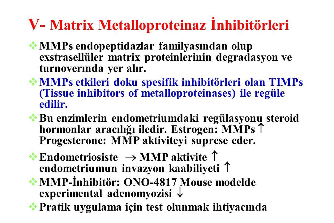 V- Matrix Metalloproteinaz İnhibitörleri  MMPs endopeptidazlar familyasından olup exstrasellüler matrix proteinlerinin degradasyon ve turnoverında ye