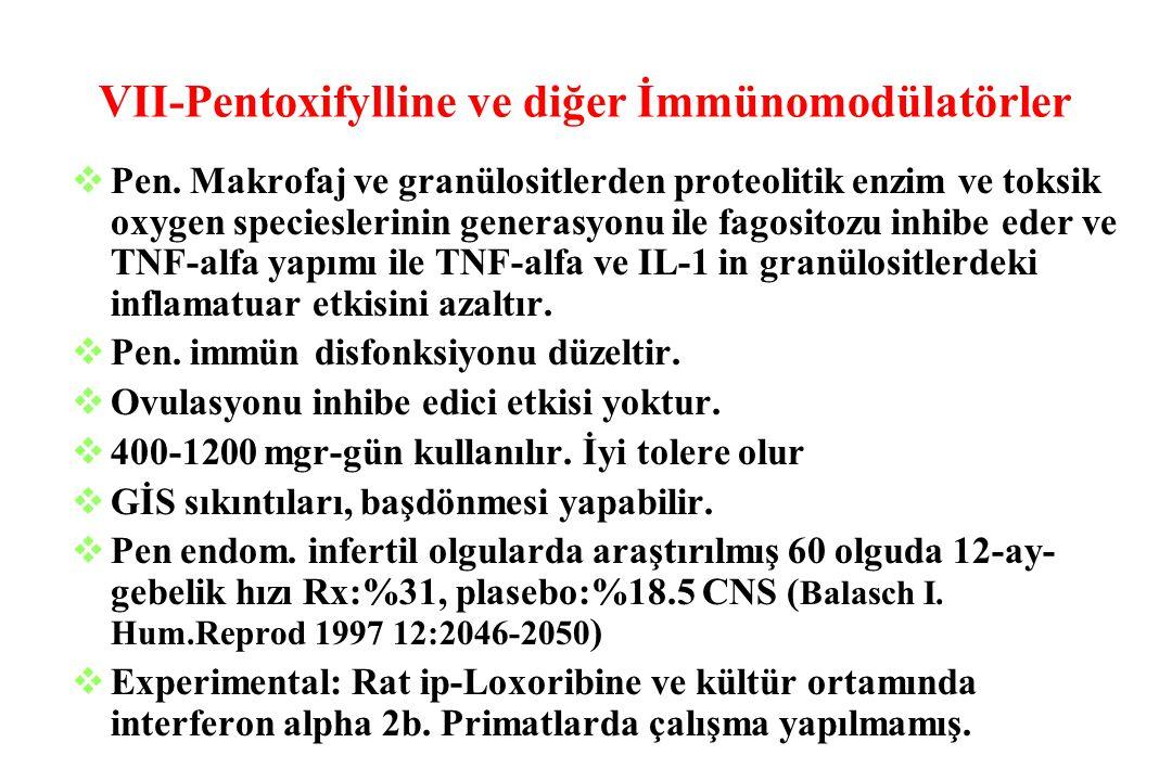 VII-Pentoxifylline ve diğer İmmünomodülatörler  Pen. Makrofaj ve granülositlerden proteolitik enzim ve toksik oxygen specieslerinin generasyonu ile f