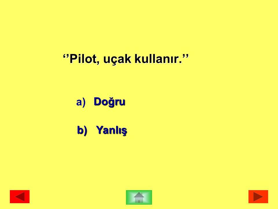 ''Pilot, uçak kullanır.'' Doğru b) Yanlış a)