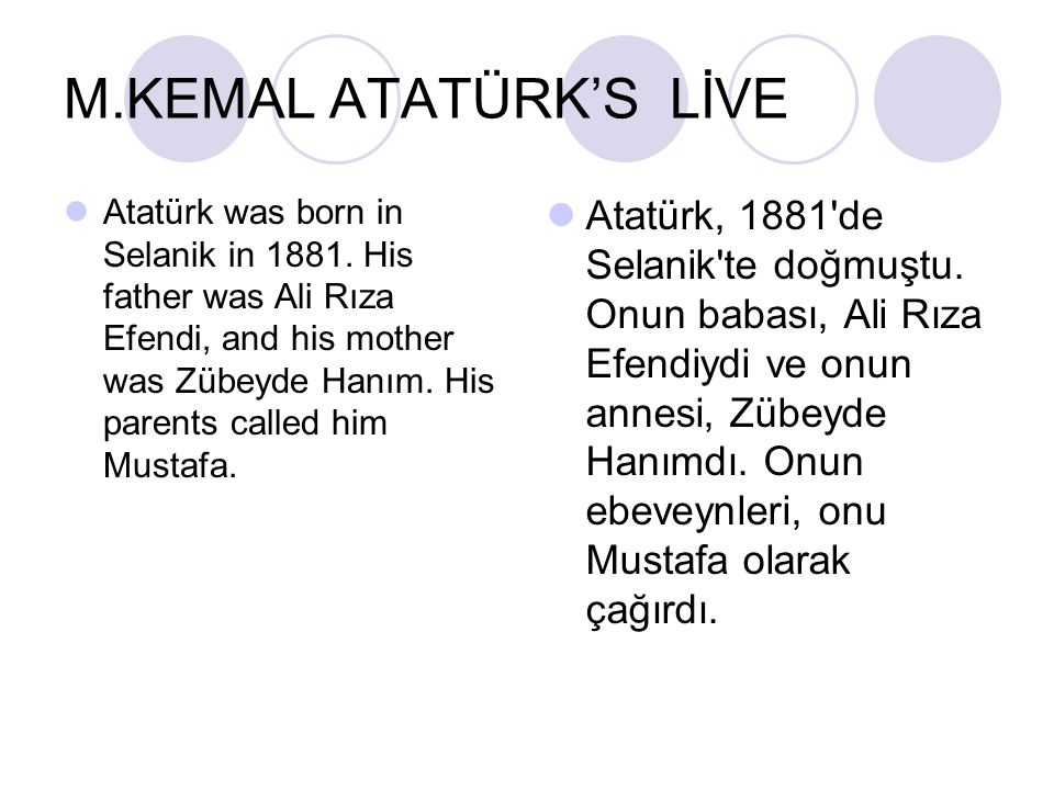 M.KEMAL ATATÜRK'S LİVE Atatürk was born in Selanik in 1881. His father was Ali Rıza Efendi, and his mother was Zübeyde Hanım. His parents called him M