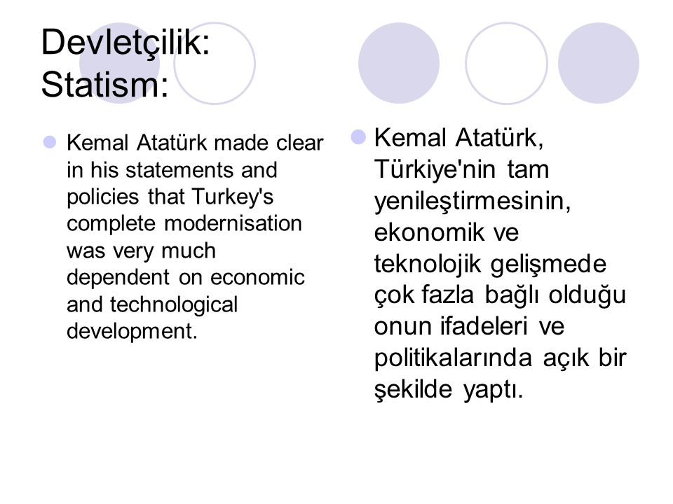 Devletçilik: Statism: Kemal Atatürk made clear in his statements and policies that Turkey's complete modernisation was very much dependent on economic