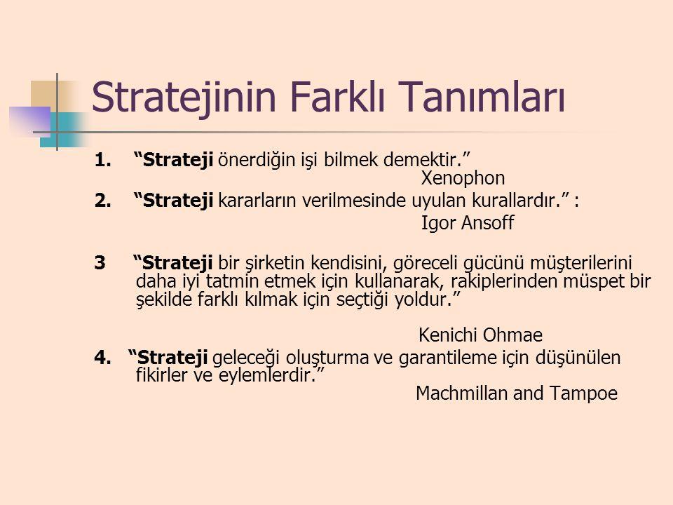 STRATEJİNİN TANIMI Strateji, bir kuruma, paydaşlarının beklentilerini karşılamak amacıyla kurumsal kaynak ve kompetansları konumlandırarak uzun dönemd