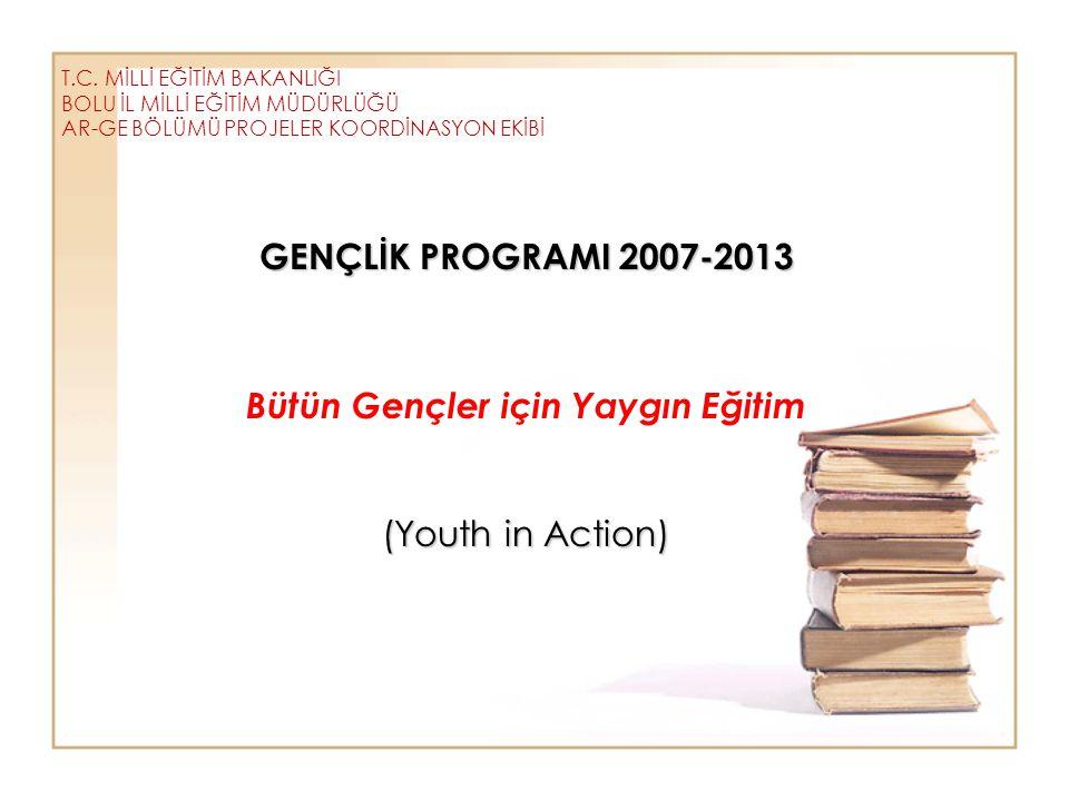 T.C. MİLLİ EĞİTİM BAKANLIĞI BOLU İL MİLLİ EĞİTİM MÜDÜRLÜĞÜ AR-GE BÖLÜMÜ PROJELER KOORDİNASYON EKİBİ GENÇLİK PROGRAMI 2007-2013 GENÇLİK PROGRAMI 2007-2