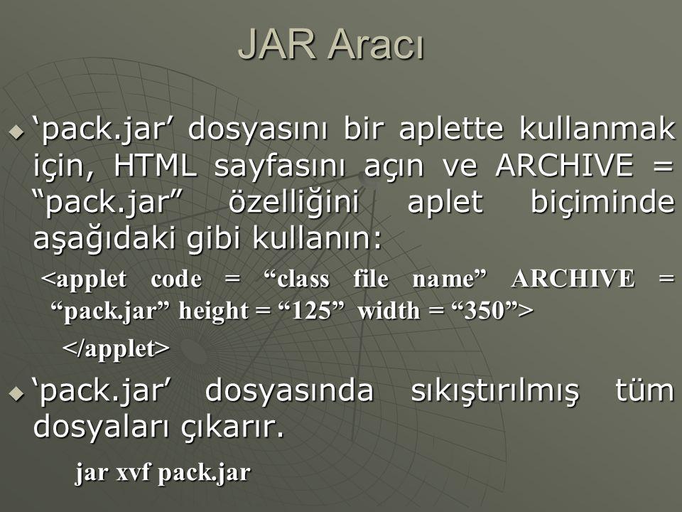JAR Aracı  Bir dizin içindeki tüm sınıf dosyalarını ve java dosyalarını 'pack' isimli bir jar dosyasına arşivleme jar cf pack.jar *.class  'pack.jar' dosyasındaki dosyaları listeleme jar tf pack.jar