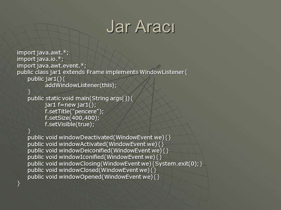 JAR Aracı  'pack.jar' dosyasını bir aplette kullanmak için, HTML sayfasını açın ve ARCHIVE = pack.jar özelliğini aplet biçiminde aşağıdaki gibi kullanın: </applet>  ' pack.jar ' dosyasında sıkıştırılmış tüm dosyaları çıkarır.