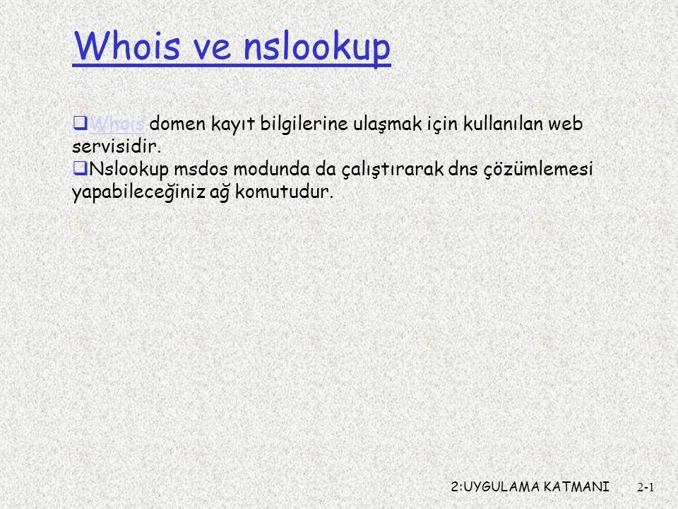 2:UYGULAMA KATMANI2-1 Whois ve nslookup  Whois domen kayıt bilgilerine ulaşmak için kullanılan web servisidir. Whois  Nslookup msdos modunda da çalı