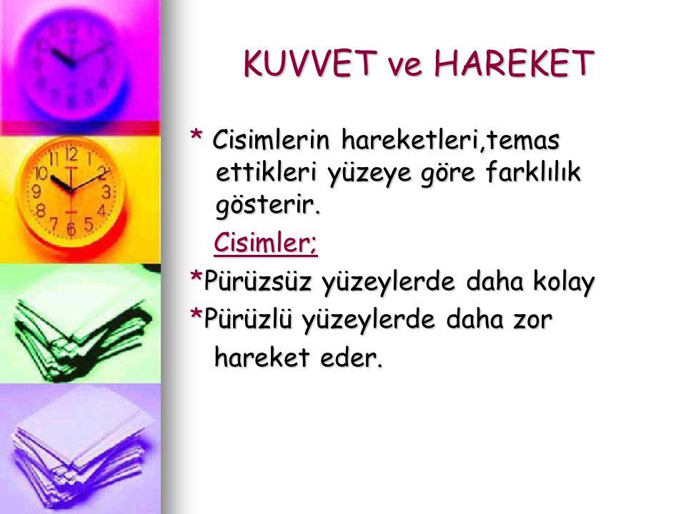 KUVVET ve HAREKET KUVVET ve HAREKET * Cisimlerin hareketleri,temas ettikleri yüzeye göre farklılık gösterir.