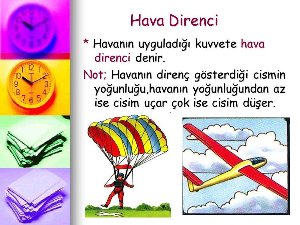 Hava Direnci Hava Direnci * Havanın uyguladığı kuvvete hava direnci denir. Not; Havanın direnç gösterdiği cismin yoğunluğu,havanın yoğunluğundan az is