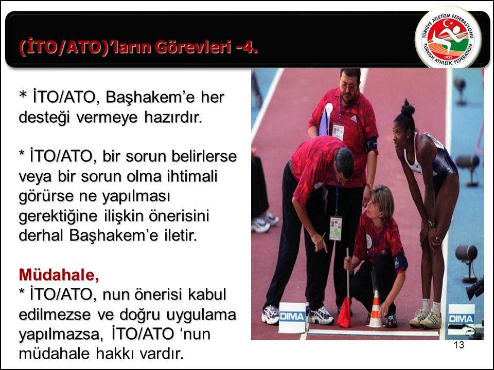 13 (İTO/ATO)'ların Görevleri -4. * İTO/ATO, Başhakem'e her desteği vermeye hazırdır. * İTO/ATO, bir sorun belirlerse veya bir sorun olma ihtimali görü