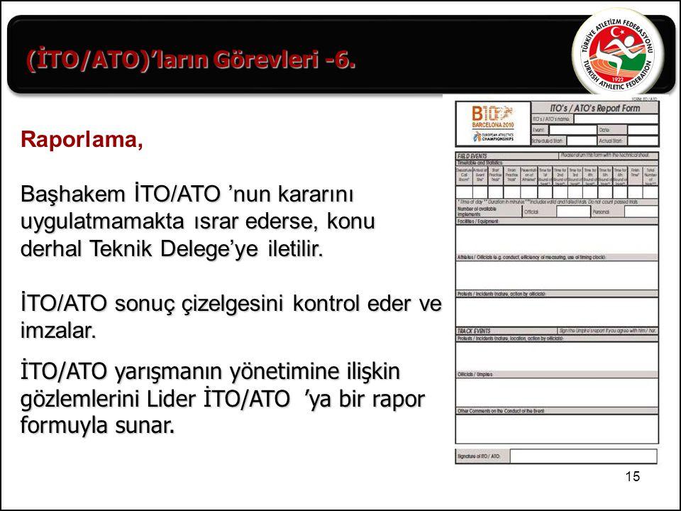 15 (İTO/ATO)'ların Görevleri -6. Raporlama, Başhakem İTO/ATO 'nun kararını uygulatmamakta ısrar ederse, konu derhal Teknik Delege'ye iletilir. İTO/ATO