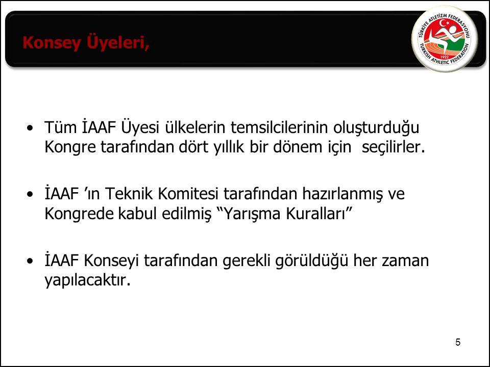 6 IAAF: Uluslararası Atletizm Federasyonları Birliği, EAA: Avrupa Atletizm Birliği, ABAF : Balkan Atletizm Federasyonları Birliği, Türkiye Atletizm Federasyonu'nun bağlı bulunduğu uluslararası organlar,