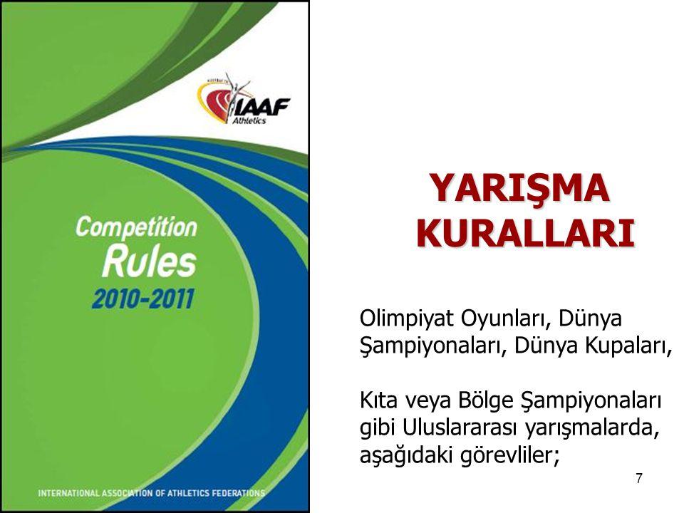 8 1.Organizasyon Delegesi, (K-111) 2.Teknik Delege, (K-112) 3.Sağlık Delegesi, (K-113) 4.Doping Kontrol Delegesi, (K-114) 5.Uluslararası Teknik Görevli (ITO), Kros koşusu ve Dağ koşusu Görevlileri,(K-115) 6.Uluslararası Yürüyüş Hakemleri(K-116) 7.Uluslararası Elektronik Ölçüm Görevlisi, (K-117) Kural:110- Uluslararası Görevliler,