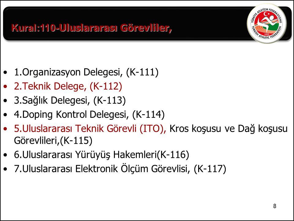 9 8.Uluslararası Start Hakemi, (K-118) 9.Uluslararası Foto Finiş Hakemi, (K-118) 10.İtiraz (Müracaat) Jürisi, (K-119) Bu kategorilerdeki delegelerin, hakemlerin ve görevlilerin sayısı, IAAF Teknik kurallarına göre belirlenecektir.