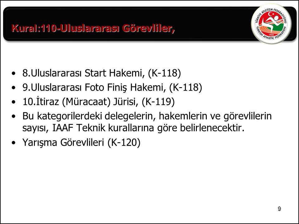 9 8.Uluslararası Start Hakemi, (K-118) 9.Uluslararası Foto Finiş Hakemi, (K-118) 10.İtiraz (Müracaat) Jürisi, (K-119) Bu kategorilerdeki delegelerin,