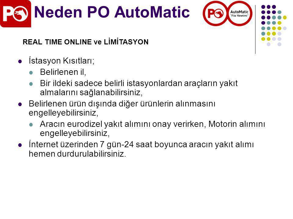Neden PO AutoMatic İstasyon Kısıtları; Belirlenen il, Bir ildeki sadece belirli istasyonlardan araçların yakıt almalarını sağlanabilirsiniz, Belirlenen ürün dışında diğer ürünlerin alınmasını engelleyebilirsiniz, Aracın eurodizel yakıt alımını onay verirken, Motorin alımını engelleyebilirsiniz, İnternet üzerinden 7 gün-24 saat boyunca aracın yakıt alımı hemen durdurulabilirsiniz.