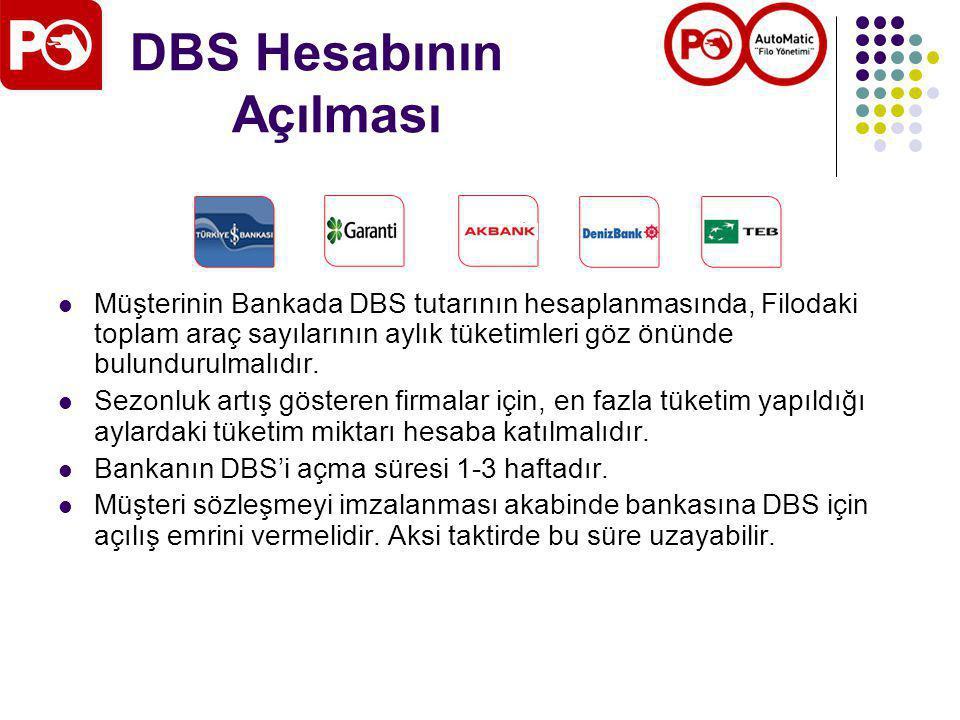 DBS Hesabının Açılması Müşterinin Bankada DBS tutarının hesaplanmasında, Filodaki toplam araç sayılarının aylık tüketimleri göz önünde bulundurulmalıdır.