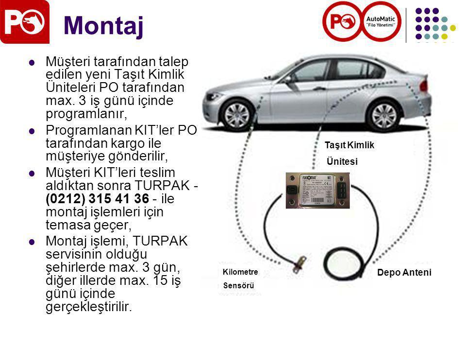 Montaj Taşıt Kimlik Ünitesi Kilometre Sensörü Depo Anteni Müşteri tarafından talep edilen yeni Taşıt Kimlik Üniteleri PO tarafından max.