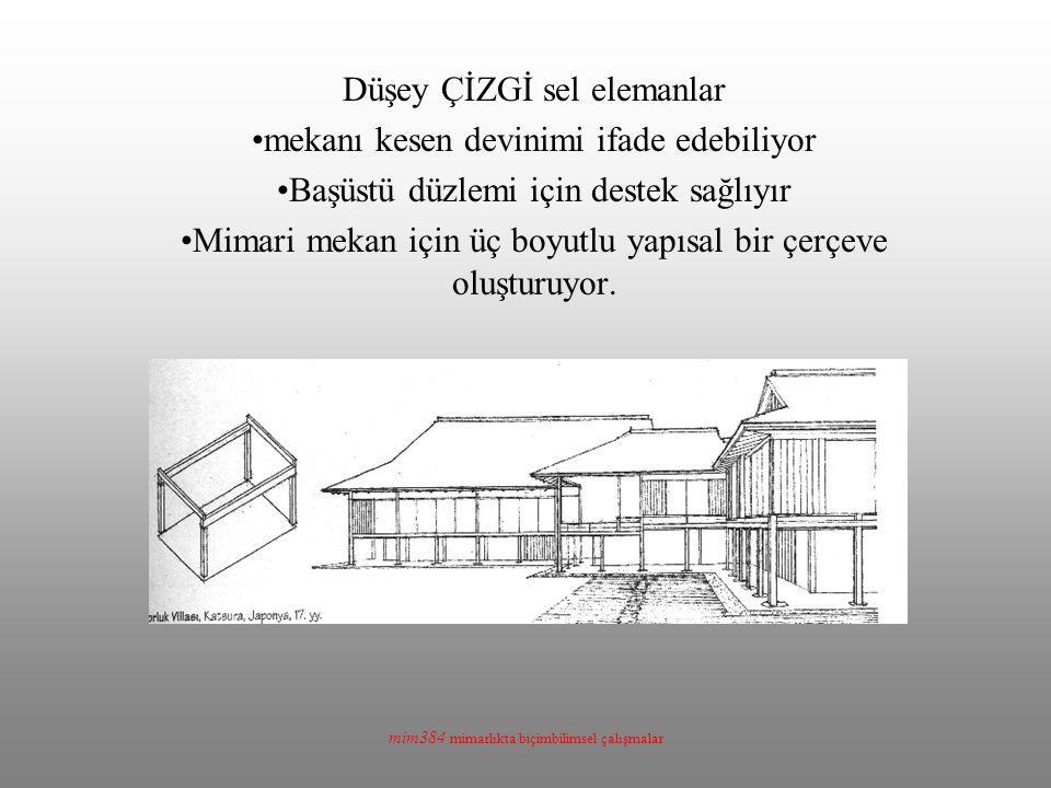 mim384 mimarlıkta biçimbilimsel çalışmalar Düşey ÇİZGİ sel elemanlar mekanı kesen devinimi ifade edebiliyor Başüstü düzlemi için destek sağlıyır Mimar