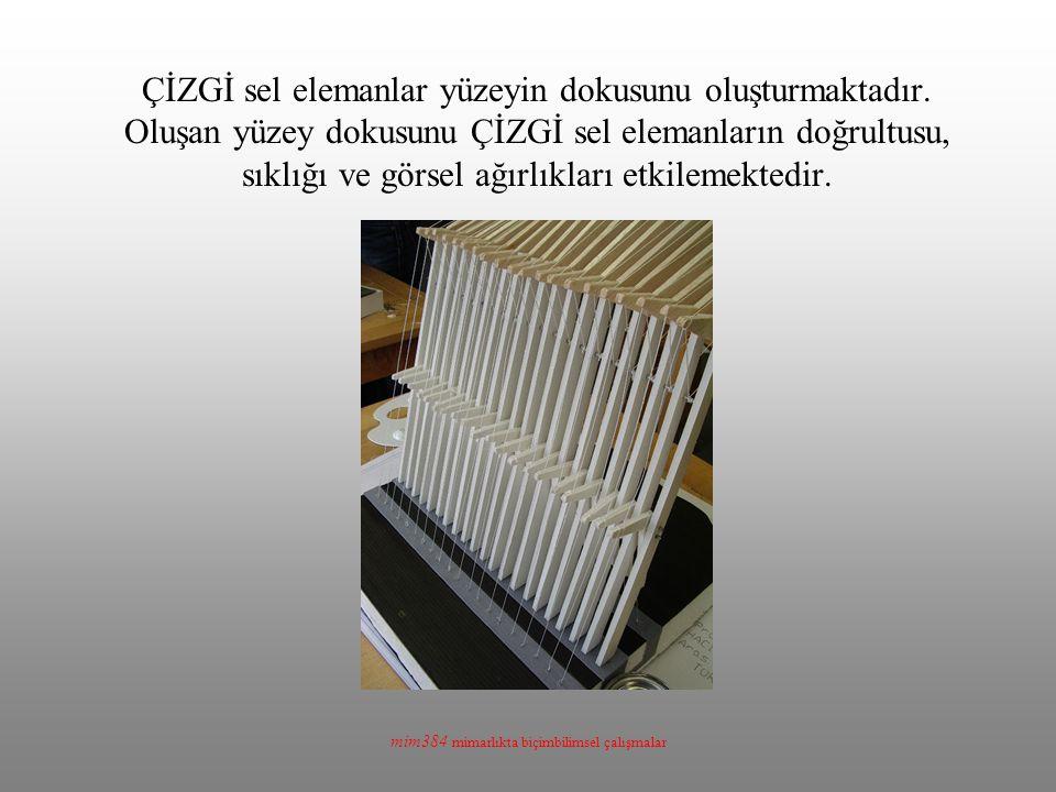 mim384 mimarlıkta biçimbilimsel çalışmalar ÇİZGİ sel elemanlar yüzeyin dokusunu oluşturmaktadır. Oluşan yüzey dokusunu ÇİZGİ sel elemanların doğrultus