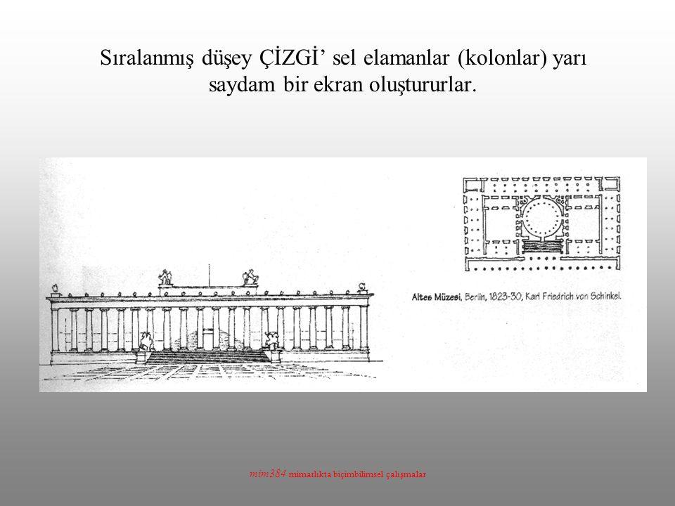 mim384 mimarlıkta biçimbilimsel çalışmalar Sıralanmış düşey ÇİZGİ' sel elamanlar (kolonlar) yarı saydam bir ekran oluştururlar.