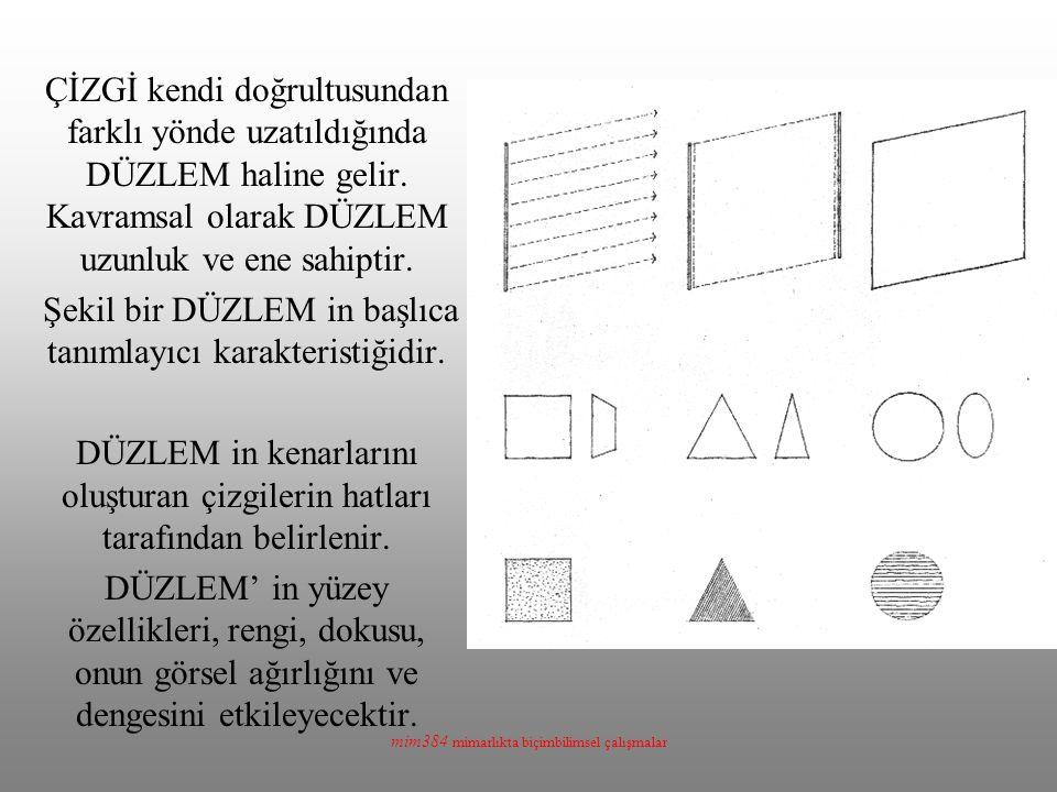 mim384 mimarlıkta biçimbilimsel çalışmalar ÇİZGİ kendi doğrultusundan farklı yönde uzatıldığında DÜZLEM haline gelir. Kavramsal olarak DÜZLEM uzunluk