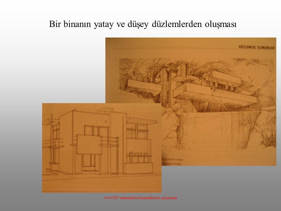 mim384 mimarlıkta biçimbilimsel çalışmalar Bir binanın yatay ve düşey düzlemlerden oluşması