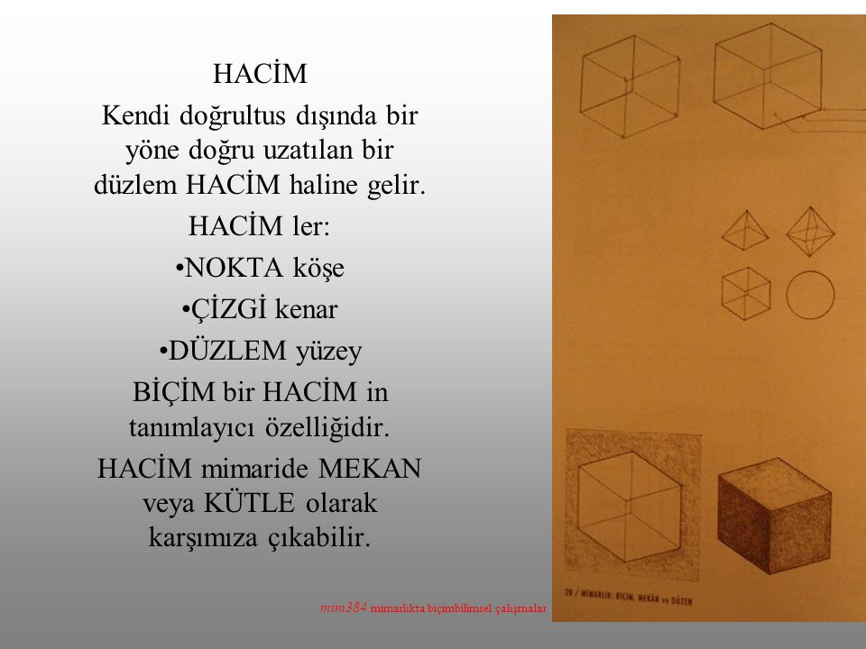 mim384 mimarlıkta biçimbilimsel çalışmalar HACİM Kendi doğrultus dışında bir yöne doğru uzatılan bir düzlem HACİM haline gelir. HACİM ler: NOKTA köşe