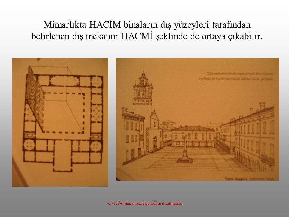 mim384 mimarlıkta biçimbilimsel çalışmalar Mimarlıkta HACİM binaların dış yüzeyleri tarafından belirlenen dış mekanın HACMİ şeklinde de ortaya çıkabilir.