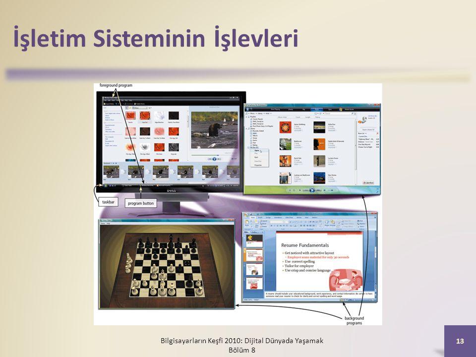İşletim Sisteminin İşlevleri Bilgisayarların Keşfi 2010: Dijital Dünyada Yaşamak Bölüm 8 13