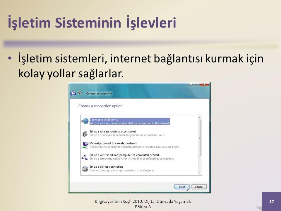 İşletim Sisteminin İşlevleri İşletim sistemleri, internet bağlantısı kurmak için kolay yollar sağlarlar. Bilgisayarların Keşfi 2010: Dijital Dünyada Y