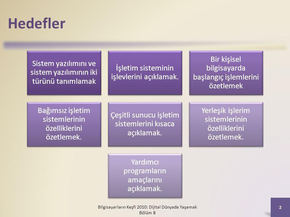 Hedefler Sistem yazılımını ve sistem yazılımının iki türünü tanımlamak İşletim sisteminin işlevlerini açıklamak. Bir kişisel bilgisayarda başlangıç iş