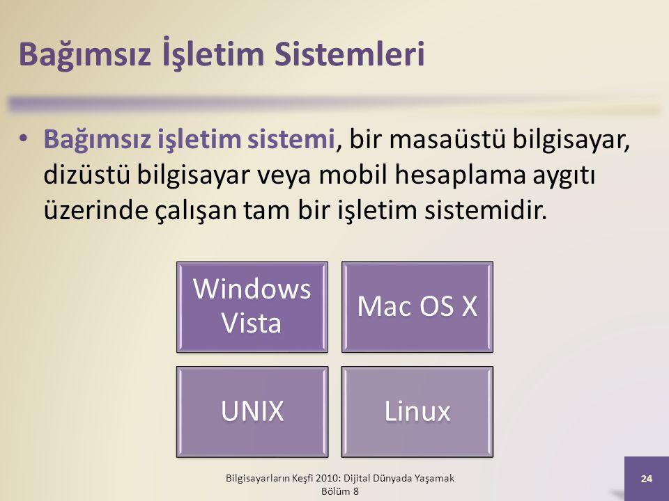 Bağımsız İşletim Sistemleri Bağımsız işletim sistemi, bir masaüstü bilgisayar, dizüstü bilgisayar veya mobil hesaplama aygıtı üzerinde çalışan tam bir