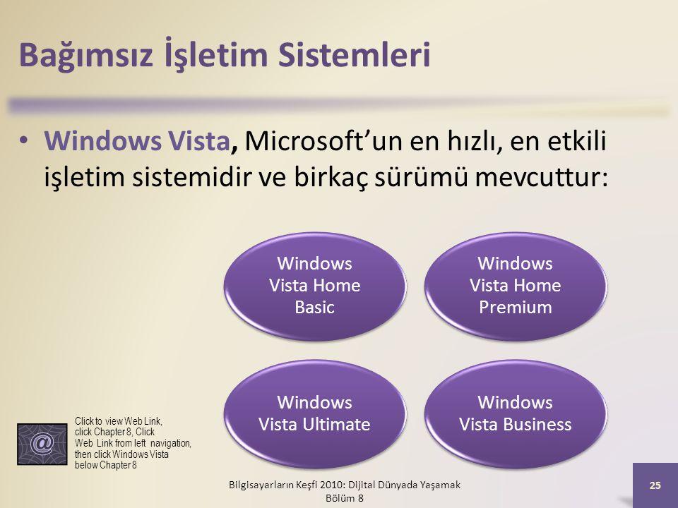Bağımsız İşletim Sistemleri Windows Vista, Microsoft'un en hızlı, en etkili işletim sistemidir ve birkaç sürümü mevcuttur: Bilgisayarların Keşfi 2010: